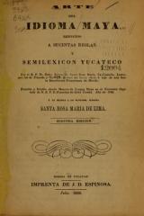 """Cover of """"Arte del idioma maya reducido a sucintas reglas"""""""