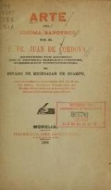 Cover of Arte del idioma zapoteco