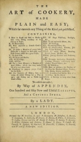 Cover of The art of cookery made plain and easy