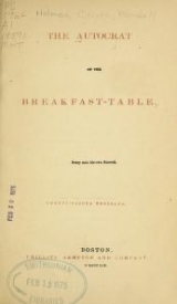 """Cover of """"The autocrat of the breakfast-table"""""""