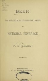Cover of Beer, its history and its economic value as a national beverage