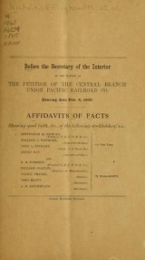 Cover of Before the Secretary of the Interior in the matter of the petition of the Central Branch Union Pacific Railroad Co