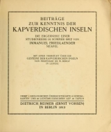 Cover of Beiträge zur kenntnis der Kapverdischen inseln