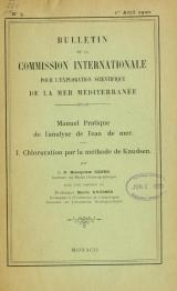 Cover of Bulletin de la Commission internationale pour l'exploration scientifique de la Mer Méditerranée