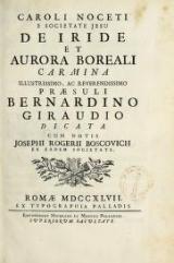 Cover of Caroli Noceti e Societate Jesu De iride et aurora boreali carmina