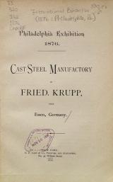 Cover of Cast-steel manufactory of Fried. Krupp, near Essen, Germany