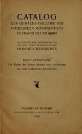 Cover of Catalog der Gemälde-Gallerie des Städelschen Kunstinstituts in Frankfurt am Main