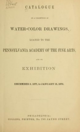 Cover of Catalog of a collection of water-color drawings
