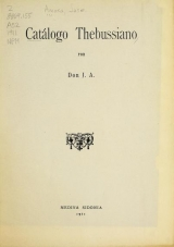 Cover of Catalogo Thebussiano