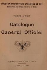 Cover of Catalogue général officiel t. 14 annexe
