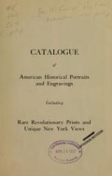 Cover of Catalogue of American historical portraits and engravings