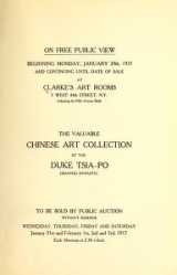 Cover of Catalogue of the Chinese art collection of the Duke Tsia-Po (Manchu Dynasty) comprising Rare and Costly Ceramics, of the early periods, Jades, crystal