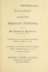 "Cover of ""Catalogue of the collection of American paintings : belonging to Mr. Newman E. Montross, of 1380 Broadway, New York."""
