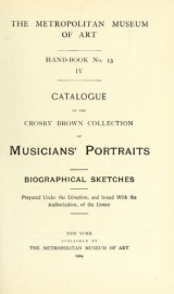 Cover of Catalogue of the Crosby Brown collection of musicians' portraits