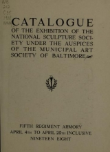 Cover of Catalogue of the exhibition of the National Sculpture Society under the auspices of the Municipal Art Society of Baltimore