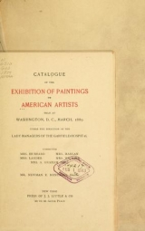 Cover of Catalogue of the exhibition of paintings by American artists held at Washington, D.C., March, 1889