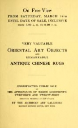 Cover of Catalogue of extraordinary antique Chinese and Japanese art objects and a remarkable collection of antique Chinese rugs