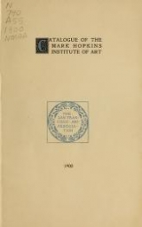 Cover of Catalogue of the Mark Hopkins Institute of Art, The San Francisco Art Association