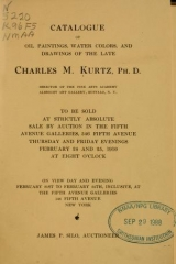 """Cover of """"Catalogue of oil paintings, water colors, and drawings of the late Charles M. Kurtz"""""""