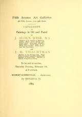 "Cover of ""Catalogue of paintings in oil and pastel by J."""