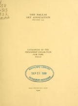 Cover of Catalogue of the permanent collection, Fair Park, Dallas