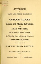 Cover of Catalogue of rare and superb collection of antique clocks, armors and musical instruments from Japan and China.