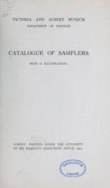 Cover of Catalogue of samplers