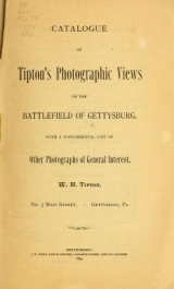 """Cover of """"Catalogue of Tipton's photographic views of the battlefield of Gettysburg"""""""