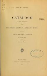 Cover of Catálogo ... de los manuscritos relativos á América y Europa