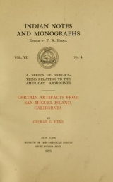 Cover of Certain artifacts from San Miguel Island, California