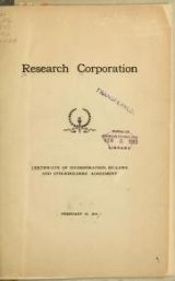 Cover of Certificate of incorporation