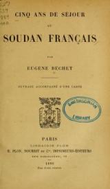 Cover of Cinq ans de séjour au Soudan Français