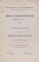"""Cover of """"Classification and rules, Department of Electricity"""""""