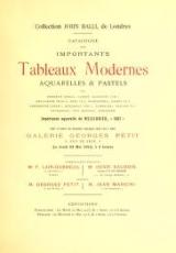 Cover of Collection John Balli, de Londres Catalogue des importants tableaux modernes aquarelles & pastels par Bonheur (Rosa), Corot, Daubigny (Ch.), Delacroix