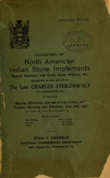 Cover of Collection of North American Indian antiquities belonging to the estate of the late Charles Steigerwalt of Lancaster, Pa