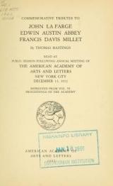 Cover of Commemorative tributes to John La Farge, Edwin Austin Abbey, Francis Davis Millet