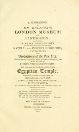 Cover of A companion to Mr. Bullock's London Museum and Pantherion