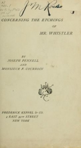 Cover of Concerning the etchings of Mr. Whistler