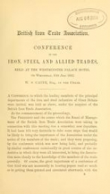 Cover of Conference of the iron, steel and allied trades held at the Westminster Palace Hotel