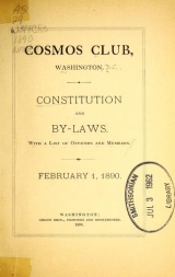 Cover of Constitution and By-Laws, with a list of officers and members