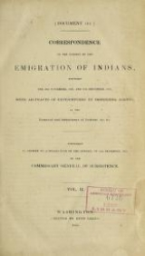 Cover of Correspondence on the subject of the emigration of Indians v.2 (1835)