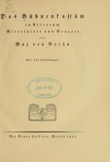 Cover of Das Bühnenkostüm in Altertum, Mittelalter und Neuzeit