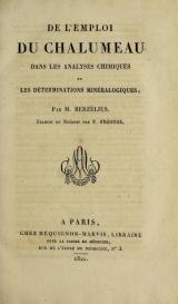 Cover of De l'emploi du chalumeau dans les analyses chimiques et les déterminations minéralogiques