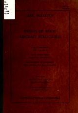 """Cover of """"Design of wood aircraft structures /"""""""