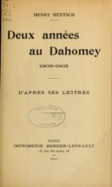 Cover of Deux années au Dahomey, 1903-1905