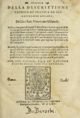Cover of Dialogo della descrittione teorica et pratica de gli horologi solari