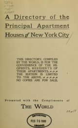 Cover of A Directory of the principal apartment houses of New York City