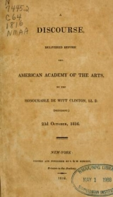 Cover of A discourse delivered before the American Academy of the Arts