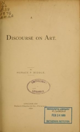 """Cover of """"A discourse on art /"""""""