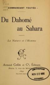 Cover of Du Dahomé au Sahara